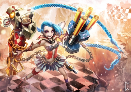 Jinx - pretty, League of legends, cg, game, beautiful, lights, guns, jinx, nice, gun, anime, beauty, anime girl, weapon, purple eyes, long hair, chain, female, lollipop, twintail, skirt, braids, weapons, cool, blue hair, awesome