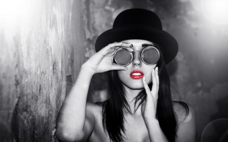 Red lips hat beauty red lips model glasses black and