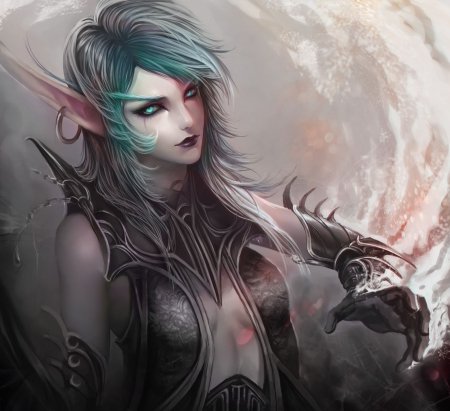 World of Warcraft - pretty, art, female, lovely, elf, video games, beautiful, woman, armor, short hair, dark, grey, aqua, beauty, lady