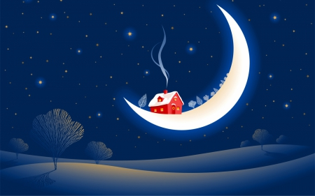 Merry Christmas! - red, house, christmas, sky, winter, tree, fantasy, moon, white, star, blue, night