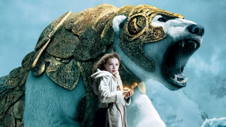 The Golden Compass (2007) - movie, bear, Dakota Blue Richards, winter, fantasy, girl, iorek, actress, lyra, white, the golden compass, blue
