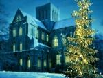 Church at winter christmas evening
