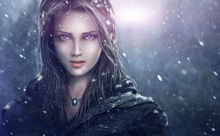 Winter Girl - art, fantasy, female, girl, digital, beautiful, woman, winter