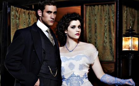 Jonathan and Ilona - Jessica De Gouw, dress, ilona, man, jonathan, woman, dracula, girl, actress, Oliver Jackson-Cohen, tv series, vampire, white, couple, actor, blue
