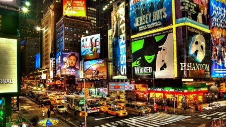 broadway in new york city at night - traffic, ads, street, lights, night