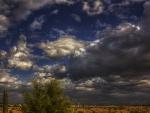 dark cloudy sky over desert