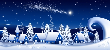 Blue Night - stars, christmas, houses, winter time, snowy, xmas, winter, merry christmas, snow, magic christmas, blue night, blue