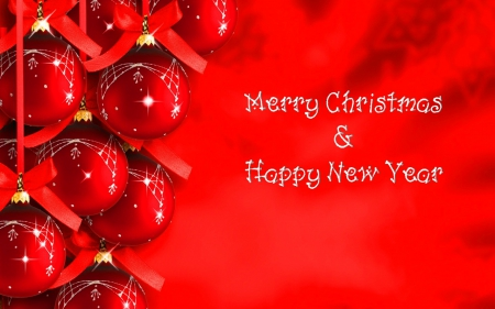 Christmas and New Years - Christmas, red, New Year, greeting, red balls