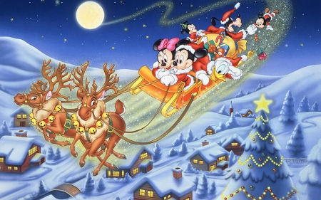 Merry Christmas! - red, christmas, mickey mouse, santa claus, tree, moon, city, fir, reindeer, disney, blue