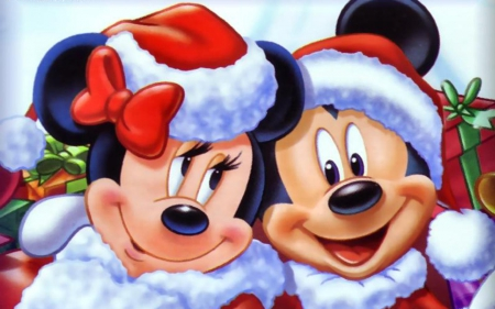 Mickey and Minnie - red, christmas, mickey mouse, santa claus, winter, hat, minnie, white, couple, disney