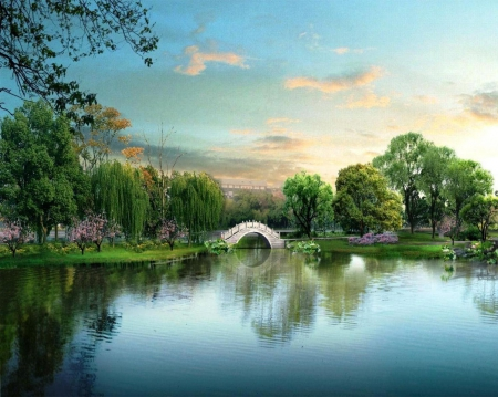Peaceful Place - art, water, bridge, painting, place, peaceful, nature, sky