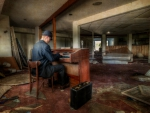 playing an organ in a decrepit living room hdr