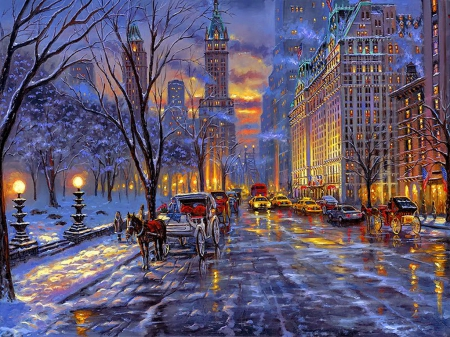 A winter stroll other abstract background wallpapers on desktop nexus image 1633959 - Snow night city wallpaper ...
