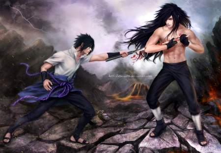 Sasuke vs Madara - uchiha madara, uchiha sasuke, war, naruto, sasuke, sharingan, madara, katana, long hair, sword, god, black hair