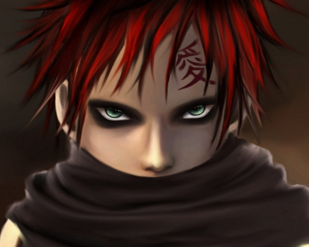 Gaara - naruto, black, red hair, anime boy, angry, gaara, boy, anime, dark, scary, scarf
