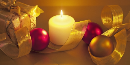 ๑♥๑ Elegant Christmas ๑♥๑ - candle, present, christmas, ribbon, golden, globes, fuchsia, light