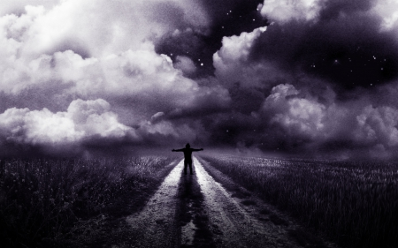 Free - pulze, free, space, freedom, man, silhouette, clouds, purple, dark, path, field, night
