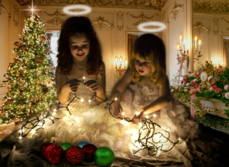 Little Angels - halo, tree, christmas, angel, girls, Victorian, lights, vintage