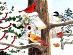 ★Winter Birdhouse & Cardinals★