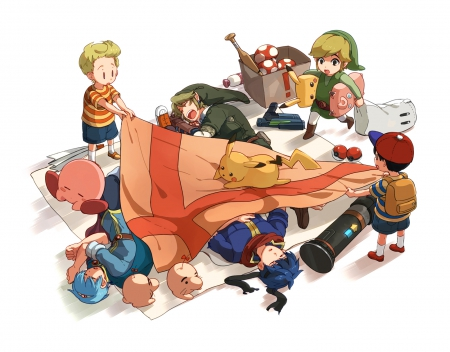 Time for Bed - Kirby, Ike, Pikachu, Link, Lucas, Super Smash Bros Brawl, Toon Link, Marth, Ness