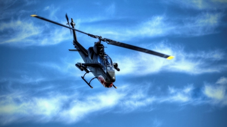 bell ah-1 attack helicopter hdr - helicopter, hdr, attack, clouds, sky, teeth