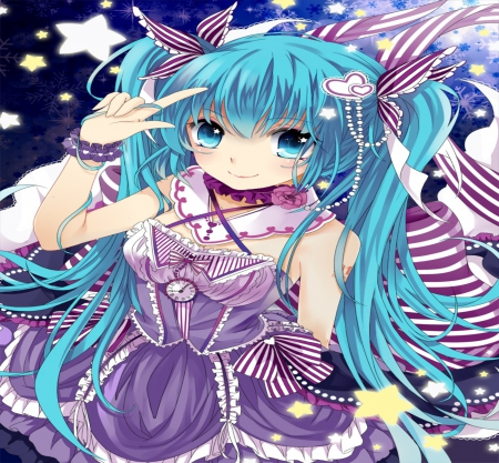 Vocaloid - dress, beautiful, ribbons, woman, sweet, anime, aqua, beauty, long hair, blue, female, lovely, necklace, smile, cute, girl, purple, flower, lady, white