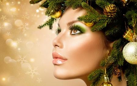 Christmas Beauty.Christmas Beauty Models Female People Background