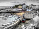 lovely tenby harbour wales in gray hdr