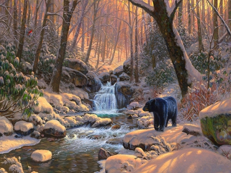 ★Snow Seasons★ - rocks, love four seasons, bear, attractions in dreams, trees, xmas and new year, winter, paintings, snow, landscapes, wildlife, nature, forests, streams, animals