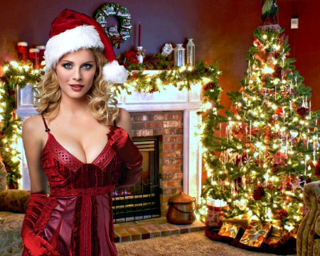 Santa's Helper ~ Eva Habermann - Model, Christmas, Tree, Blonde