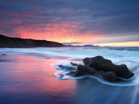 A very beautiful sunset sea beach.. - Water, Sky, Colorful, Rocks, Sunset