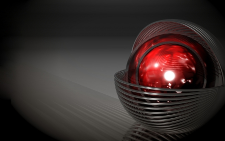 Dominae - CGI, 3D, gradient background, graphics, red ball