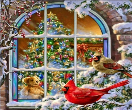 A Cardinals\\' Christmas Window - Christmas, Tree, Window, Cardinals