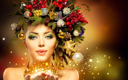 Christmas Model.Beauty Christmas Models Female People Background