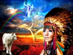Indians with wolves and rainbows
