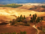farms in a tuscan landscape