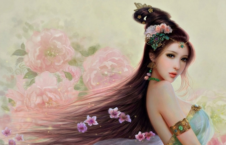 Oriental beauty - sakura, woman, peony, fantasy, girl, oriental, flower, asian, princess, pink, blue