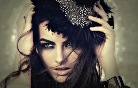 Camilla Belle - camilla belle, girl, actress, black, by cehenot, woman, hat