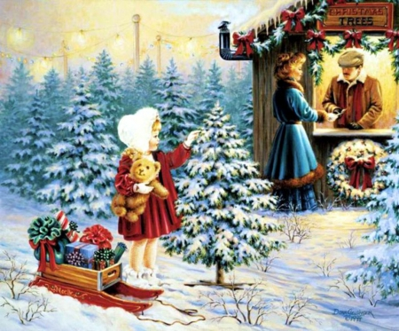 Christmas Time - snow, child, trees, mother, artwork, sledge