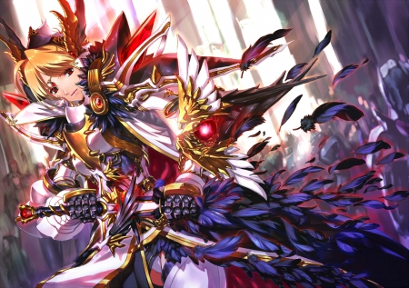 Jian Huang - pretty, cg, game, beautiful, magic, lights, nice, fantasy, anime, beauty, anime girl, weapon, long hair, sword, feathers, female, blonde hair, sexy, armor, cool, awesome, jian huang, red eyes