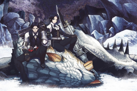 Dragon hunter - anime boy, dragon, fantasy, gun, dragon hunter, anime girl, sword, couple, black hair, female, male, winter, weapons, short hair, cool, coolawesome, snow, awesome, black eyes, nime