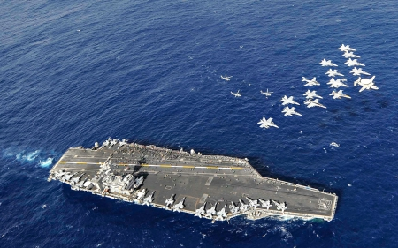 USS Nimitz with Fly Over - Jets, Carrier, Aircraft, USS