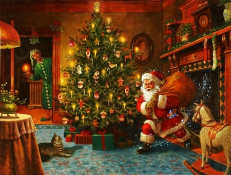 santa comes from chimney other abstract background wallpapers on