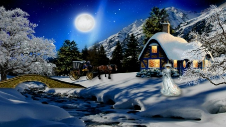 ~*~ Romantic Winter Night ~*~ - romanic winter night, christmas house, winter house, winter full moon, winter night