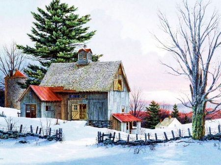 Cottage in Winter - fence, house, snow, trees, artwork
