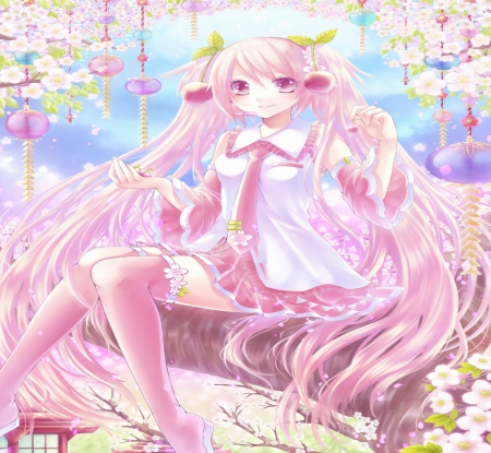 Vocaloid - pretty, yellow, beautiful, woman, anime, aqua, flowers, beauty, long hair, pink, blue, shirt, female, lovely, twintails, soft, cute, tree, girl, purple, lady, sskirt, white