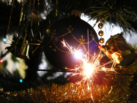 Christmas Party - globe, purple, christmas, tinsel, fireworks, party