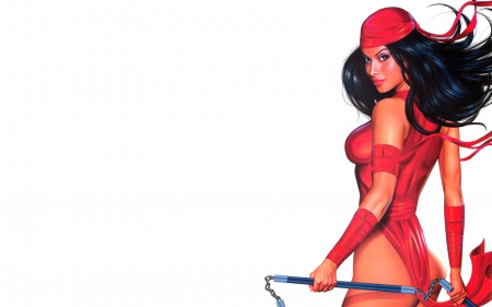 Elektra - sais, characters, marvel comics, Greg Horn, white background, Elektra