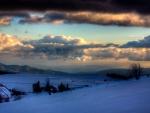 beautiful winter farm landscape hdr