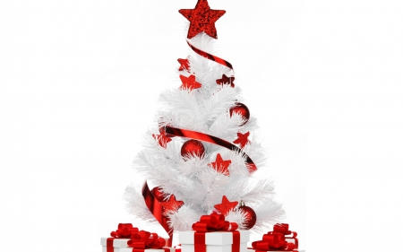 White&Red Ornaments - white and red, red star, christmas tree, white box, spettacular, red balls, red ribbons, gifts